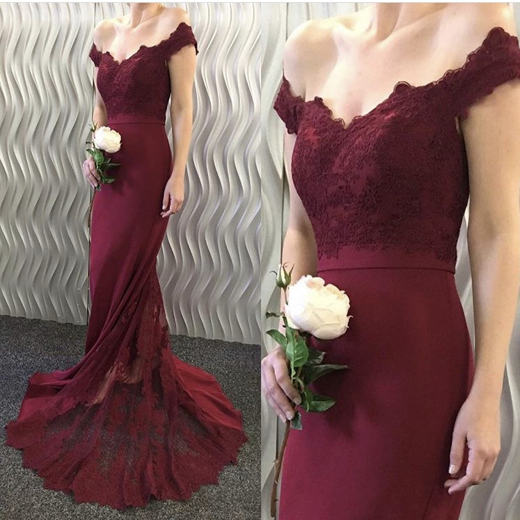 Hot Deep V-Neck Bridesmaid Gown Peach/Ivory/Champagne/Silver/Coral/Burgundy Satin Lace Applique Bridesmaid Dresses Fast Shipping