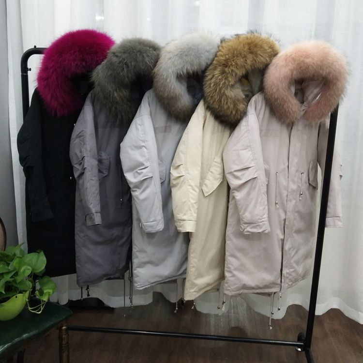 Real raccoon dog fur collar winte duck   down     coats   outerwear women   down   jackets fashion parkas 2018 autumn winter