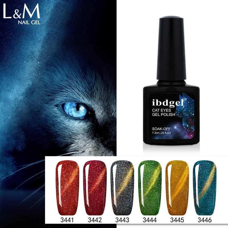 Ibdgel 3D Rainbow Bling Kucing Mata Gel Kuku Glitter Varnish Manicure Kuku UV Magnetic Hot Penjualan 7.3 ML