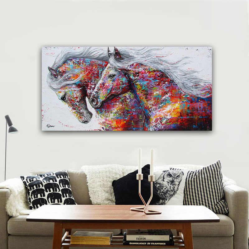 Canvas Hd Print Two Horse Racing