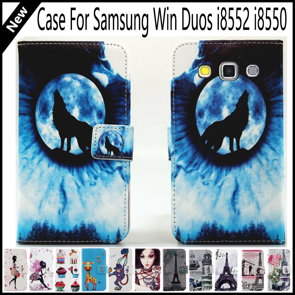Hot Sale! For Samsung Win Duos i8552 i8550 Wallet Card Slots Book Style Flip PU Leather Case Cover Phone Case Fashion