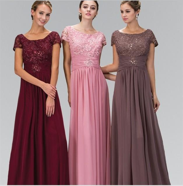 86522f6111762e Cecelle 2019 Modest Burgundy Lace Chiffon Long Bridesmaid Dresses Cap Sleeve  Sparkly Beaded A-line Formal Wedding Party Dresses