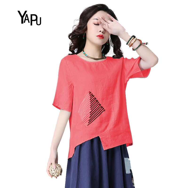 YAPU summer new ethnic style wind art pattern match pattern embroidery short section cotton and linen