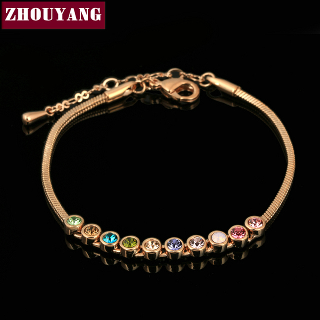 ZHOUYANG Top Quality Multicolour Exquisite ball  Gold Plated Bracelet Elements Austrian Crystals Wholesale ZYH013 ZYH011 ZYH012