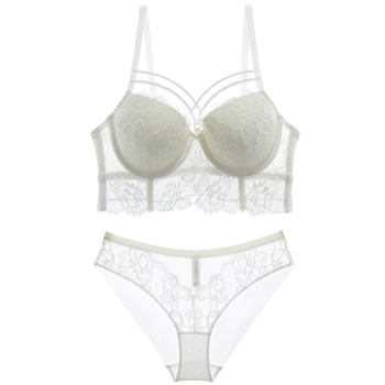 New Top Sexy Underwear Set Green Bras Cotton Brassiere Women Lingerie Set Lace Embroidery Push up Bra Panties Sets Deep V Gather 4