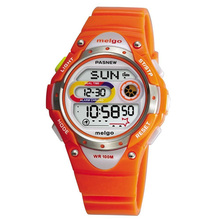 Pasnew LED 100M Waterproof Digital Sport Watch for 5-15 Years Old Boys Girls Kids Students (Orange)