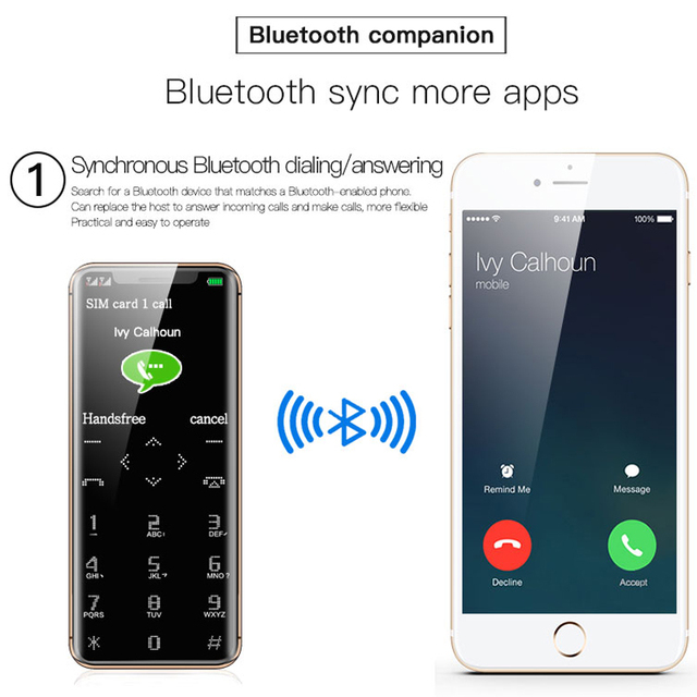 Touch Key Extra Slim Light BT Sync Dial Flashlight Recording Mp3 Small Spare Cellphone Free Case Mini Card Feature Phone