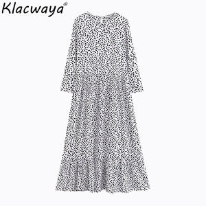 Klacwaya 2019 Summer Beach Women Maxi Dress Vintage Ladies