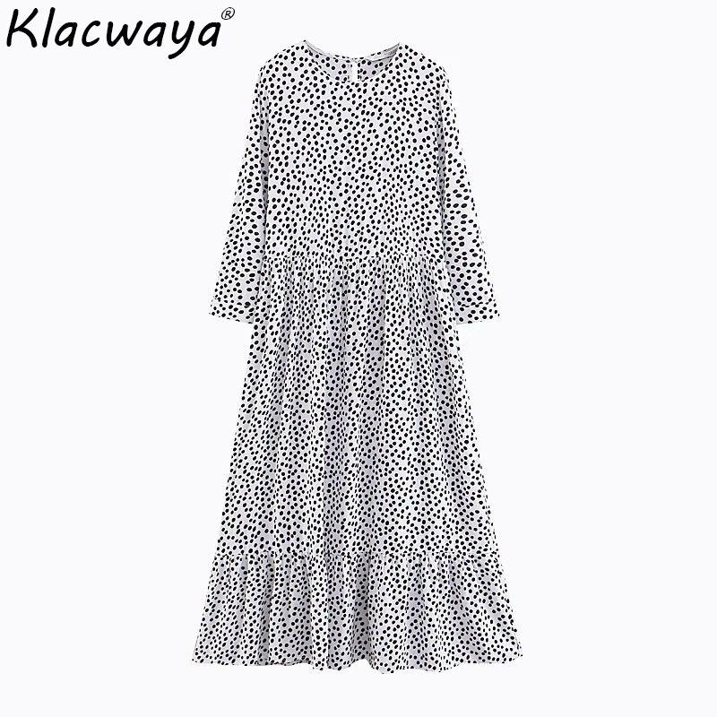 2019 automne plage femmes Maxi robe Vintage à pois dames élégantes longues robes filles taille haute longue robe Vestidos féminin
