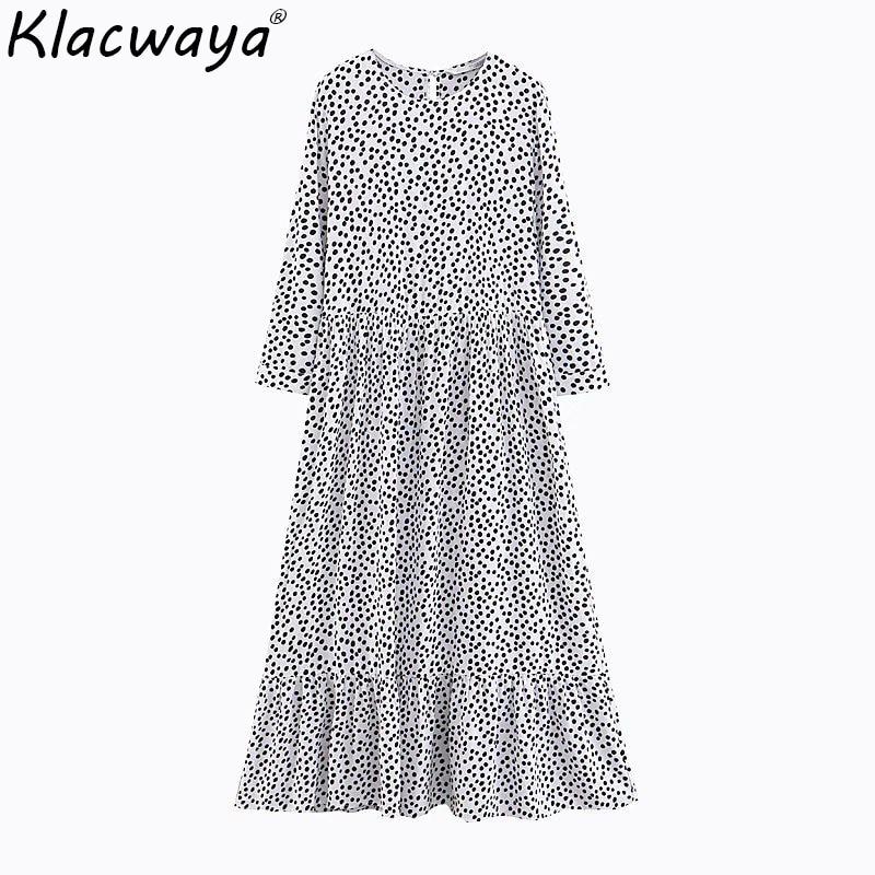 2019 outono praia feminina maxi vestido do vintage bolinhas senhoras elegantes vestidos longos meninas de cintura alta vestido longo feminino