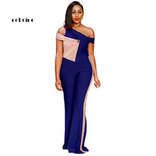 Echoine Women Fashion Jumpsuit Sexy Oblique Collar One Shoulder Patchwork Button Slim Flare Long Pants Street Rompers Outerwear