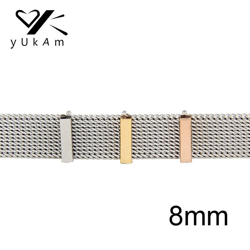 YUKAM bijoux couleur argent Rose or curseur entretoises 8mm bouchons en caoutchouc glisser breloques gardien pour maille Bracelet accessoires faisant