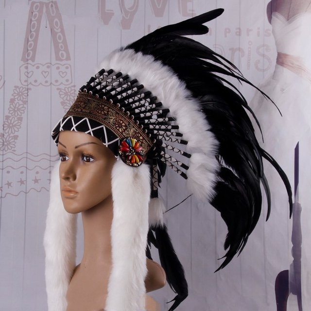 women feather headpiece carnival stage performance property sexy cosplay men Indianness headpieces cacique hat