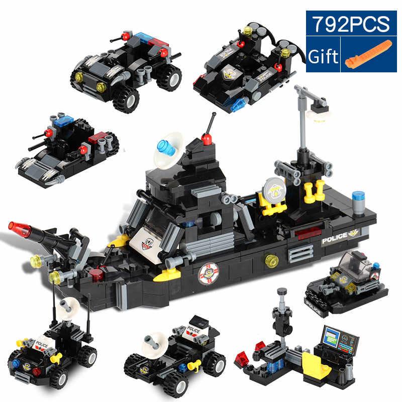 792 Pcs 3 In 1 Transformasi Kota SWAT Truk Kapal Perang Helikopter Blok Bangunan Kompatibel dengan Legoed Teknik Mainan untuk Anak