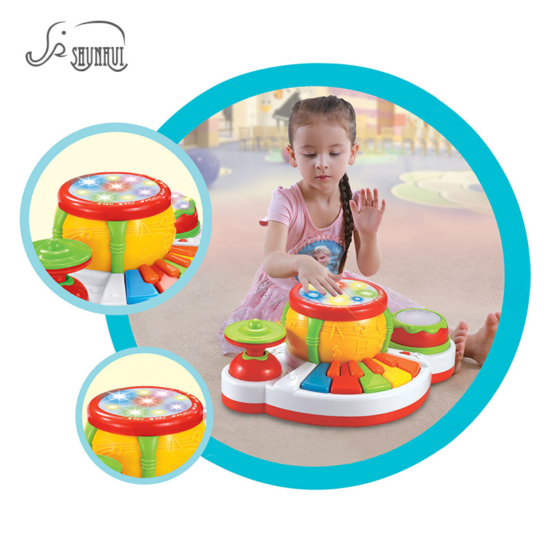 SHUNHUI Baby Musical Instrument יד ג'אז תוף פסנתר צעצועים ילדים אור סיפור שיר מוסיקה מקלדת למידה צעצועים מתנה לילדים