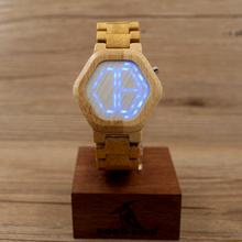 BOBO BIRD Men LED Watches Hexagonal Digital Clock Mujer CdE03 with 100% Bamboo Material Watches