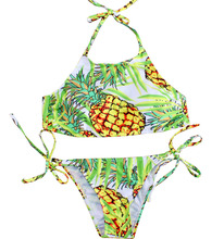 New sexy women 4 style pineapple printed bikini suit triangular bandage micro swimsuit maillots de bain femmes bikiny set 2017