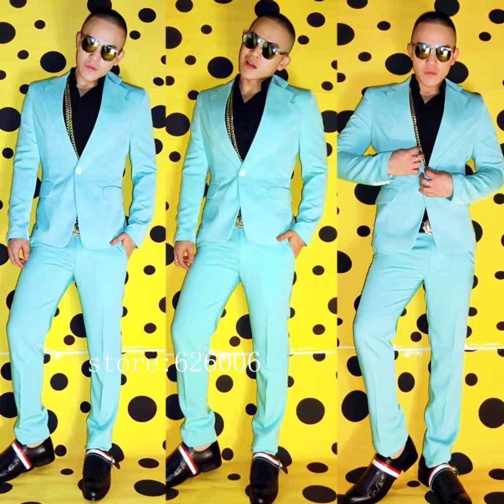 New Fashion Original Nightclub Male DJ singer GD BIGBANG light green Slim Suit Costumes Party show stage suits men's set