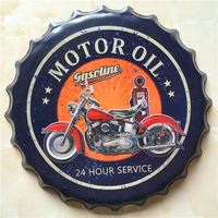 40 CM Motor Oil Gasoline Beer Bottle Cap Home Decorative Iron Painting Ornaments Bar Cafe Wall