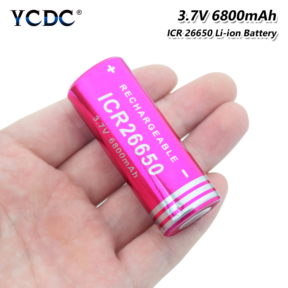 1/2/4 Pcs 3.7v Volt ICR 26650 6800mAh Lithium Ion Li-ion 26650 Cell Battery Rechargeable For Led Flashlight Torch Headlamp image