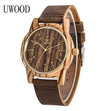Men's 2016 New Fashion UW3317 Wooden Wristwatch With Genuine Cowhide Leather Band Lovers Wood Watches for Women