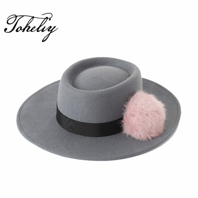 Autumn winter fashion Large eaves Retro New pattern Rabbit ball wool Flat  Top Fedora Hat bc8a74634ef