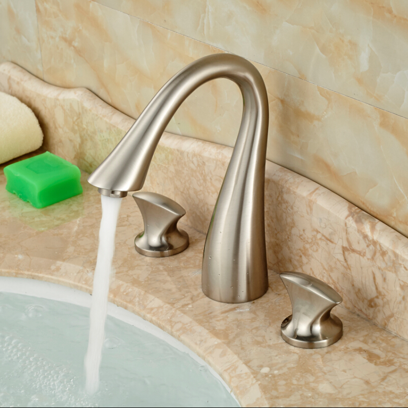 Brushed nickel Bathroom Sink Mixer Faucet Deck Mount Widespread Basin Vessel Sink Taps with Dual Handles new arrive dual square handles waterfall spout bathroom sink basin faucet brushed nickel deck mount