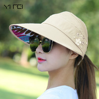 YIFEI Hat women spring summer autumn outing leisure joker uv folding beach sun hat topi tourism fashion Cap outdoor