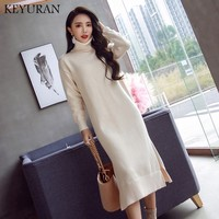 Turtleneck Warm Charm Women split side Sweater Dress 2018 Fall Winter Long Sexy Lurex Bodycon Dresses Woman Skinny Knitted Dress