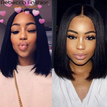 Rebecca Fashion Short Bob Lace Front Wigs Straight Lace Front Human Hair Wigs 10 to 14 Inch Brazilian Remy Straight Hair Wigs