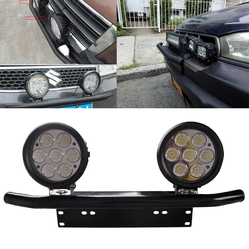 JXLCLYL Car Bull Bar Front Bumper License Plate Mount Bracket Working Light Holder Black