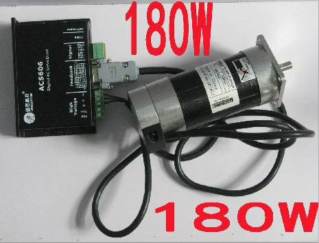 Leadshine 180W Brushless DC Servo Motor Drive Kit BLM57180-1000+ACS606 Cable wholesale 3 pcs a lot leadshine ac servo drives acs606 work 24 60 vdc out 0a to18a fit blm57180 1000 brushless servo motor