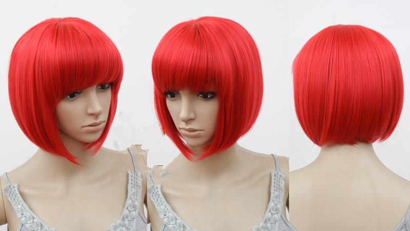Fei-show pelucas de cabello ondulado corto inclinado rosa púrpura Rubio rojo azul Bob Cos-play pelo sintético resistente al calor para mujer