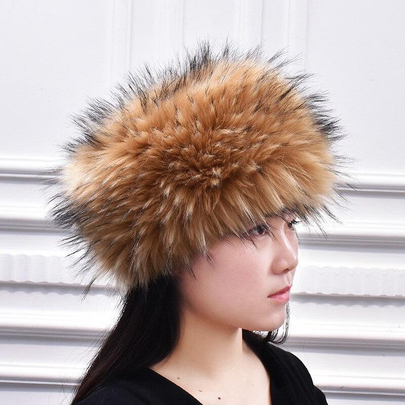 New Faux Fox Fur Hat Winter Warm Raccoon Fur Beanies Russia Style Fake Rabbit Fur Hat Men Women Fluffy Pom Pom Fur Hat
