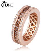 2019 Blue Brown Baguette Cubic Zirconia CZ Silver Brown Filled Engagement Band Ring 6MM Width Three Row Crystal USA hot selling