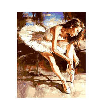 RIHE Ballet Dancing DIY Painting By Numbers Lover Handpainted Canvas Home Wall Art Picture For Living Room Unique Gift