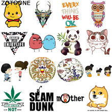ZOTOONE Cartoon cute letter panda ironing patch clothing DIY T-shirt applique heat transfer vinyl tiger hot press D