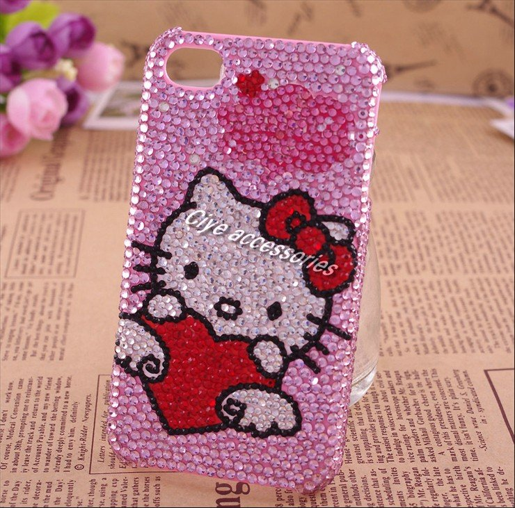 f425ebedea44 pink heart hello kitty crystal bling phone case for apple iphone rhinestone  cell phone case for iphone 4 154