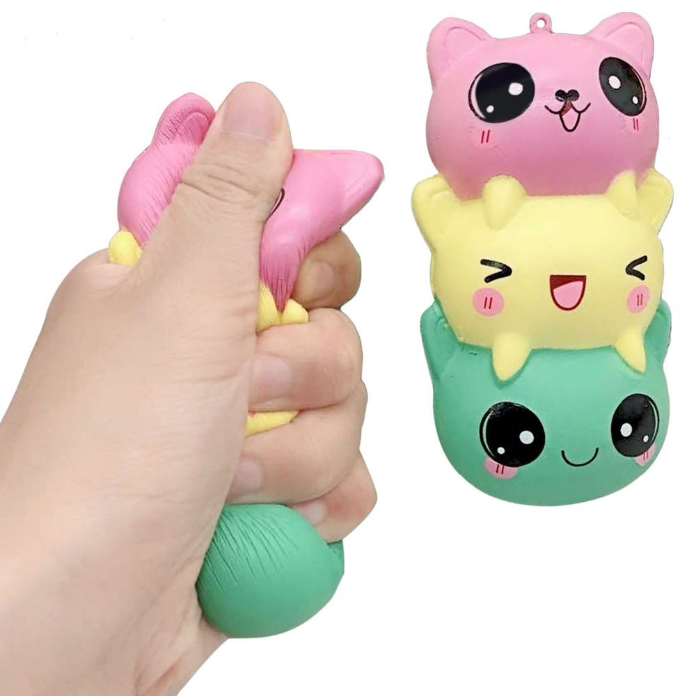 New Cartoon Cat Squishy Slow Rising Phone Straps Cute Kitten Soft Squeeze Bread Charms Scented Kids Toy
