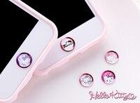 20 stücke Karikatur ID-taste schutz Aufkleber Hause tastatur hallo kitty für IPhone 5 s 6 s 7 8 plus Support Fingerprint freischaltschlüssel