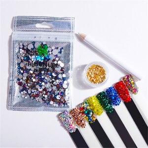 Hisenlee 1000Pcs SS4-SS30 Mix Sizes Crystal Rhinestone 15 Colors Nail art Rhinestone Glitter Nails Studs Art Decorations