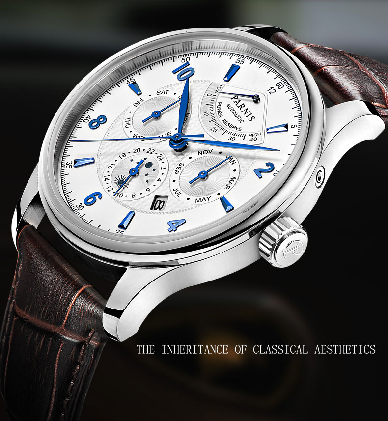 Parnis Sapphire Crystal Mens Watch Miyota 9100 Movement Automatic Power Reserve Month Day Show watch цена и фото