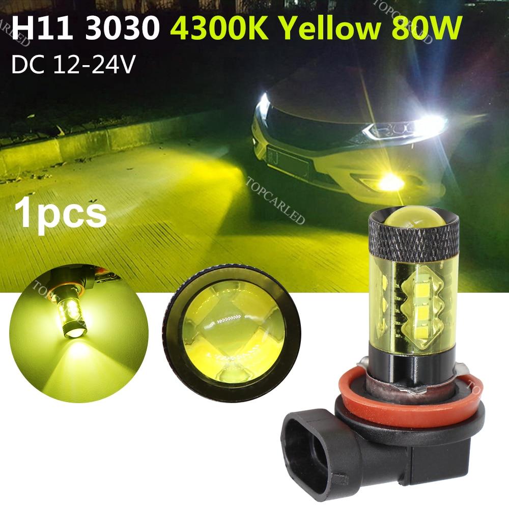 new arrival 1pair 3030 80w h8 h11 high power led car fog lights or10 SO.K 1Pcs Universal Car 3030 4300K 80W H11 High Power Led Light Car Fog Lights Gold Yellow Driving Bulds
