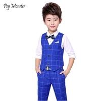 Flower Boy Suit for Weddings Prom Party 3T 14Y Children Slim Fit Suit Sets Boys Tuxedo Formal Vest Pants Classic Costume F76