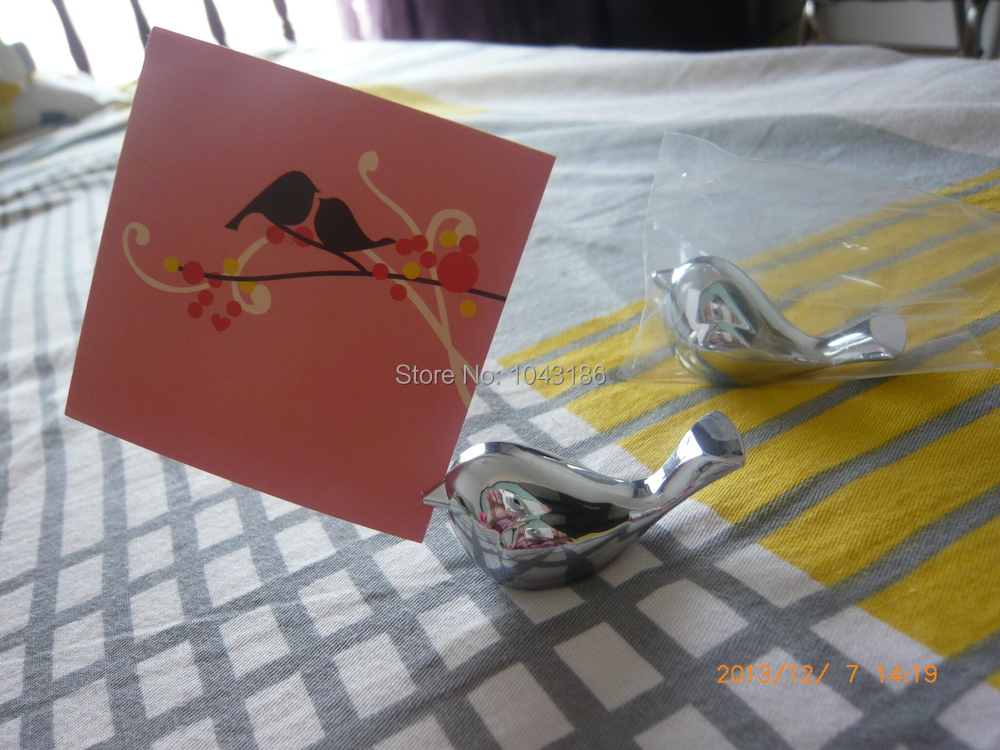 wedding place name card holder Love Bird Card Holder Favors with Brushed Silver Finish party table