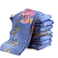 Mujeres Elástico de Terciopelo Estampado Floral Casual Leggings Otoño/Invierno Moda Pantalones Cómodos Legging Impresión Femenina Inferior TT3073
