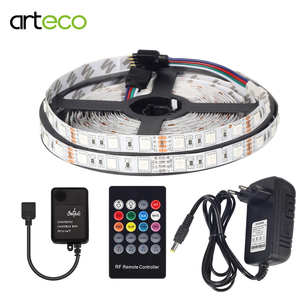 5M RGB LED Strip 5050 SMD IP20/IP65 Waterproof LED Light Tape Flexible Ribbon RF Remote Controller DC 12V Power Adapter Full set