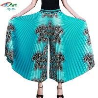 New Women Wide Leg Pants Large Size Fashion Stretch Waist Printing Wide Leg Pants Female Middle