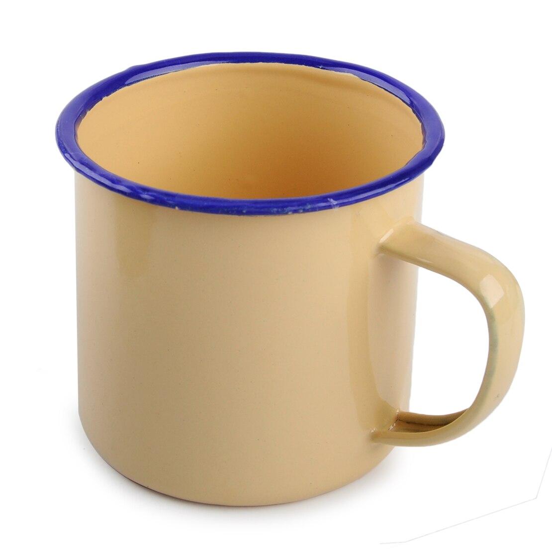 Vintage Style Enamel Cup Mug for Drinking Coffee Bear Tea Camping Hiking 300ml