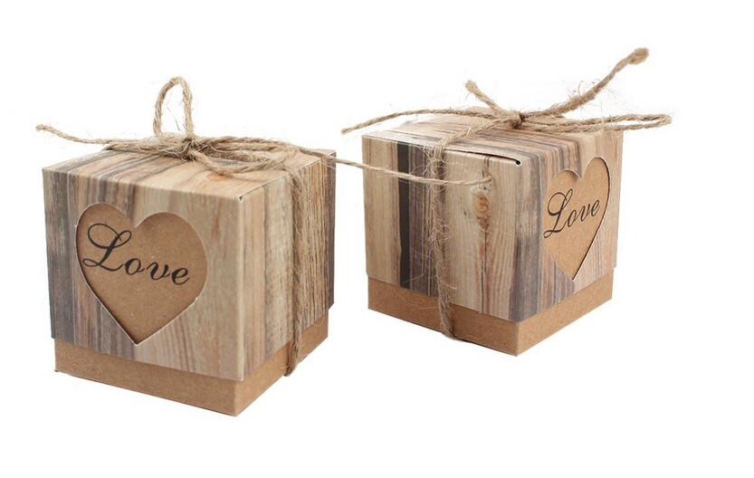 100Pcs Wedding Bonbonniere Heart in Love Rustic Kraft Bark Candy Boxes with Burlap Chic Vintage Twine Wedding Favor Gift BoxGift Bags & Wrapping Supplies   -
